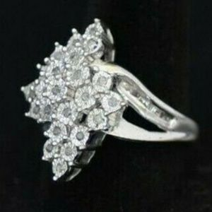 Sterling Silver Real Diamond Cluster Ring